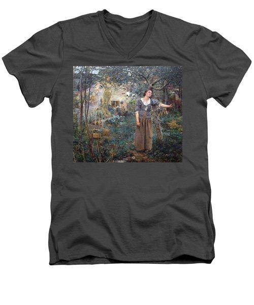 Joan Of Arc Men's V-Neck T-Shirt by Jules Bastien-Lepage