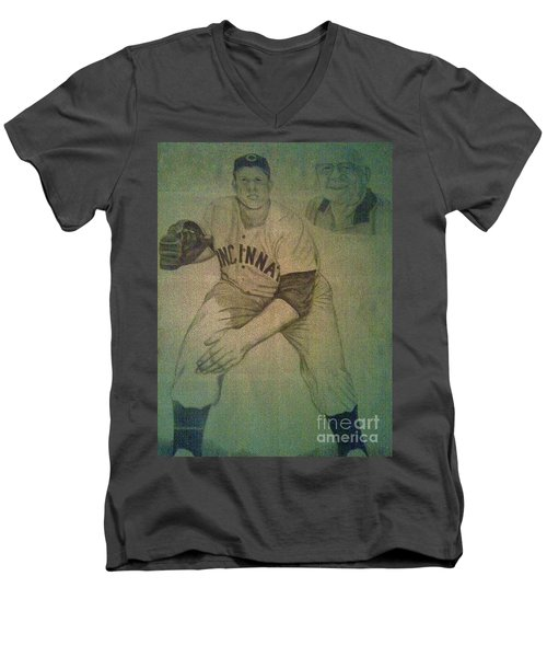 Men's V-Neck T-Shirt featuring the drawing Joe Nuxhall by Christy Saunders Church