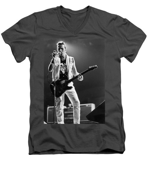 Joe Strummer At Clash Final Concert Men's V-Neck T-Shirt