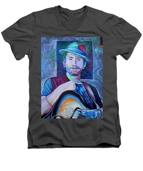 Men's V-Neck T-Shirt featuring the painting John Butler by Joshua Morton