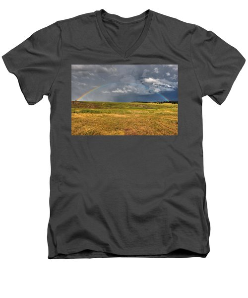 John Deer At The End Of The Rainbow Men's V-Neck T-Shirt
