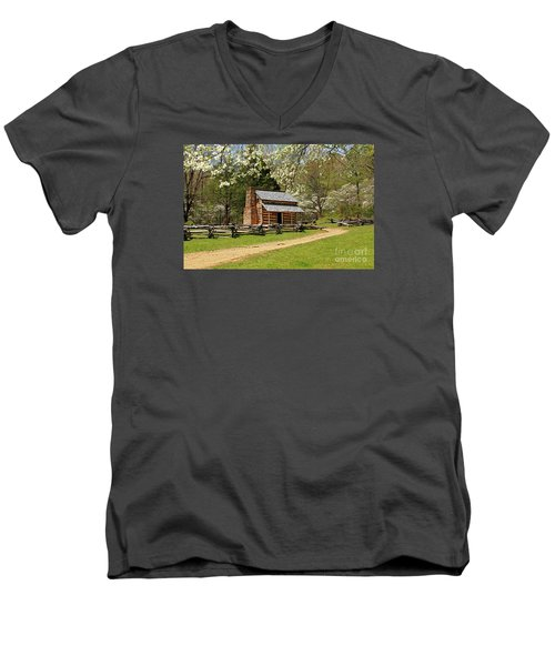 Men's V-Neck T-Shirt featuring the photograph John Oliver's Cabin by Geraldine DeBoer