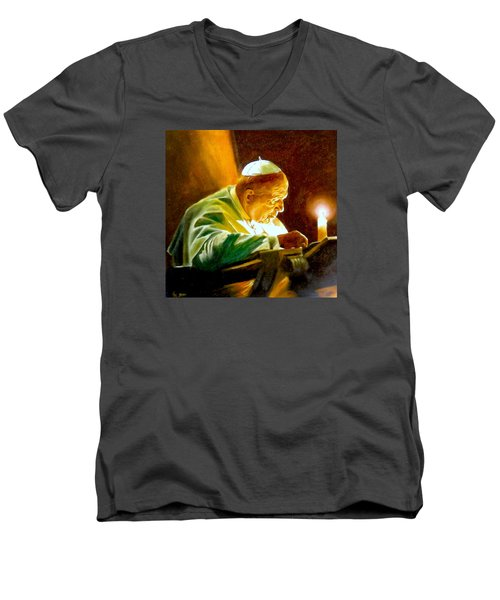 Men's V-Neck T-Shirt featuring the painting John Paul II by Henryk Gorecki