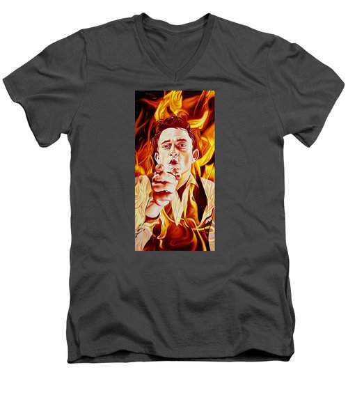 Men's V-Neck T-Shirt featuring the painting Johnny Cash And It Burns by Joshua Morton