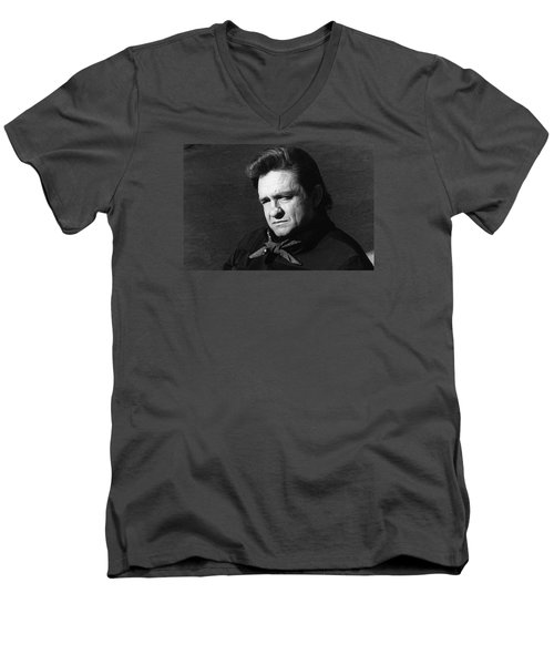 Men's V-Neck T-Shirt featuring the photograph Johnny Cash Close-up The Man Comes Around Music Homage Old Tucson Az  by David Lee Guss