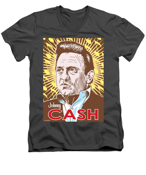 Johnny Cash Pop Art Men's V-Neck T-Shirt by Jim Zahniser