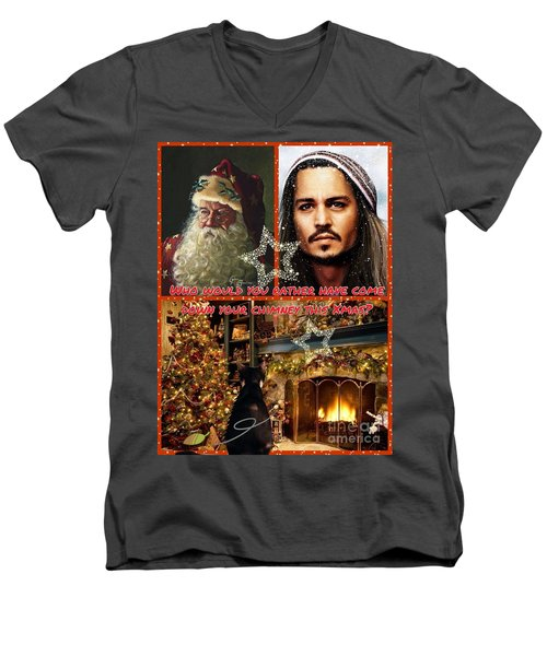 Johnny Depp Xmas Greeting Men's V-Neck T-Shirt