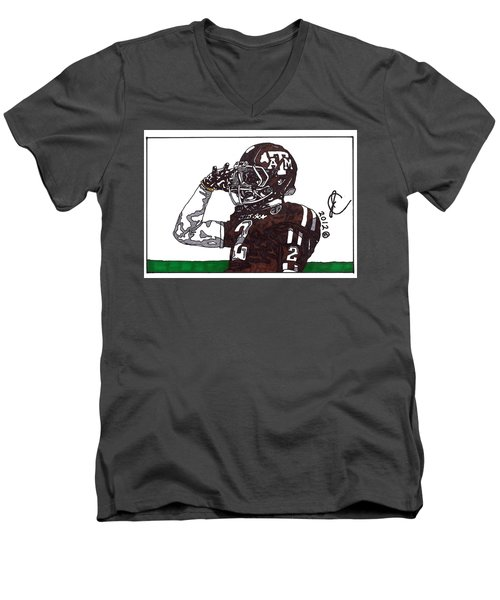 Johnny Manziel The Salute Men's V-Neck T-Shirt by Jeremiah Colley