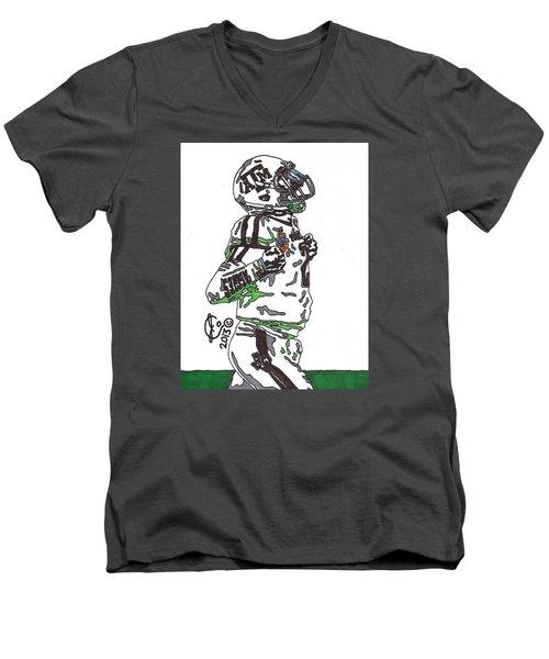 Johnny Manziel 4 Men's V-Neck T-Shirt by Jeremiah Colley