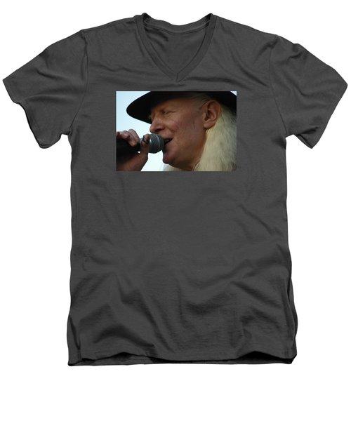Johnny Winter Sings Men's V-Neck T-Shirt by Mike Martin