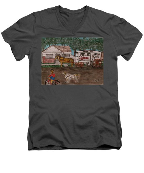 Men's V-Neck T-Shirt featuring the painting Johnsons Milk Wagon Pulled By A Horse  by Kathy Marrs Chandler