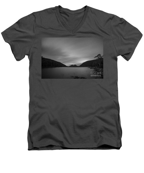 Jordan Pond Blue Hour Bw Men's V-Neck T-Shirt