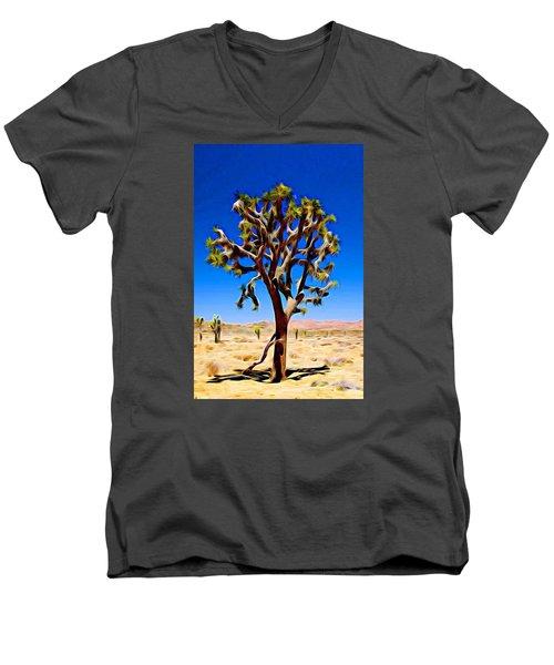 Joshua Tree Dark Men's V-Neck T-Shirt by Jeff Iverson