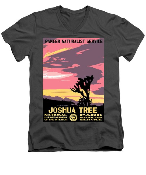 Joshua Tree National Park Vintage Poster Men's V-Neck T-Shirt