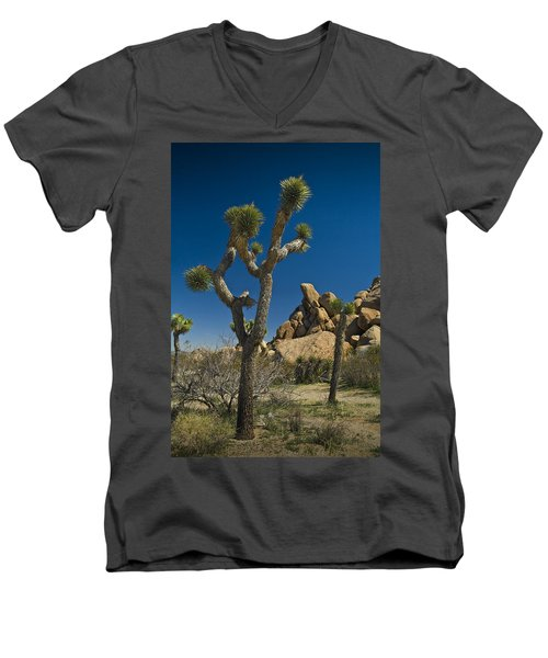 California Joshua Trees In Joshua Tree National Park By The Mojave Desert Men's V-Neck T-Shirt
