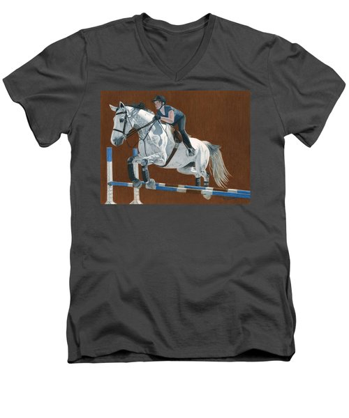 Jump Men's V-Neck T-Shirt by Patricia Barmatz