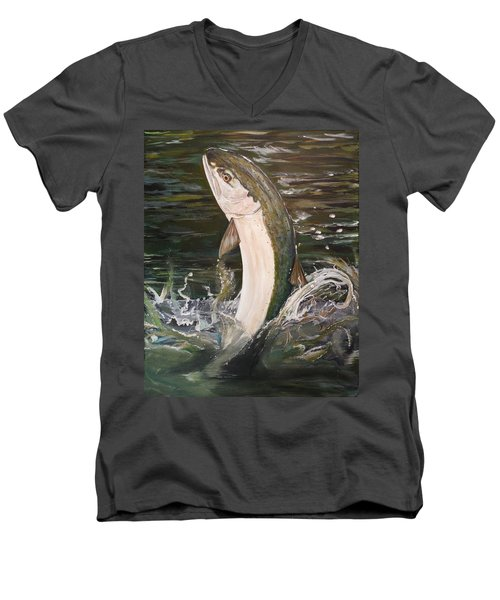 Jumping Steelhead Men's V-Neck T-Shirt