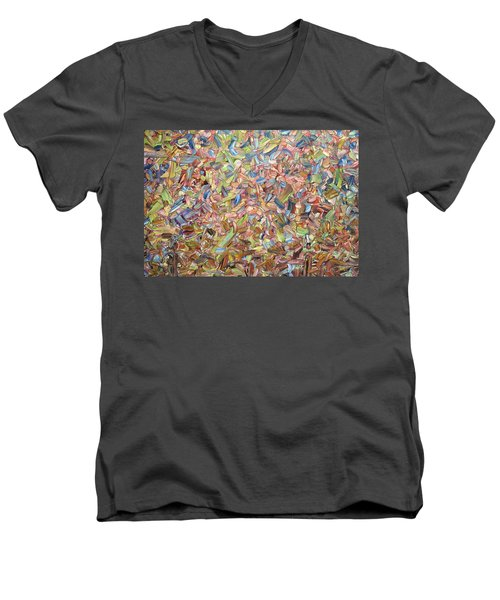 Men's V-Neck T-Shirt featuring the painting June by James W Johnson