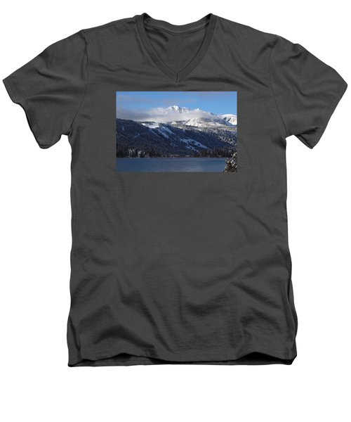 June Lake Winter Men's V-Neck T-Shirt by Duncan Selby