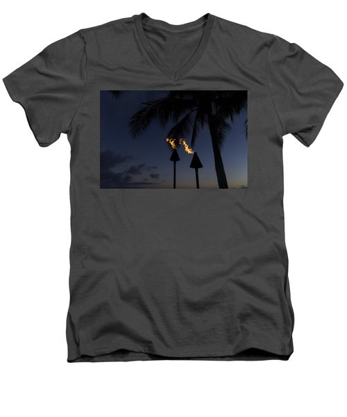 Just After Sunset The Beach Party Is Starting Men's V-Neck T-Shirt