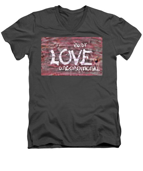 Just Love Unconditional  Men's V-Neck T-Shirt by Cathy  Beharriell