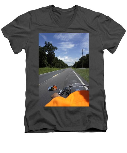 Just Ride Men's V-Neck T-Shirt by Laurie Perry
