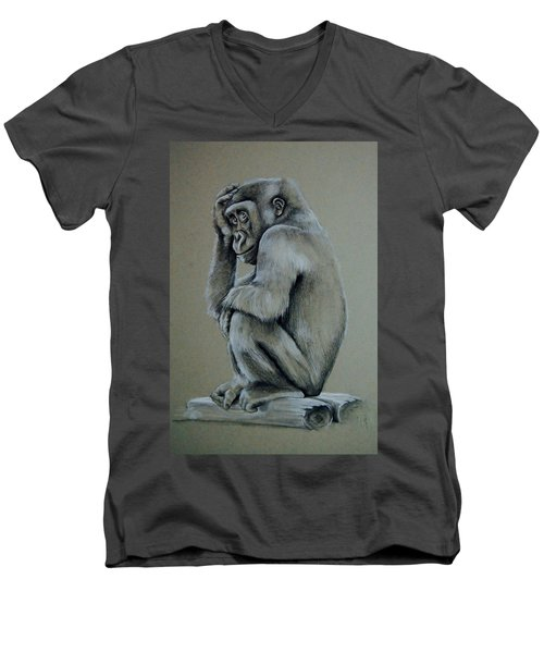 Just Thinking Men's V-Neck T-Shirt by Jean Cormier