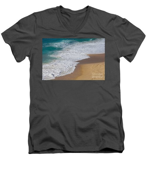 Just Waves And Sand By Kaye Menner Men's V-Neck T-Shirt
