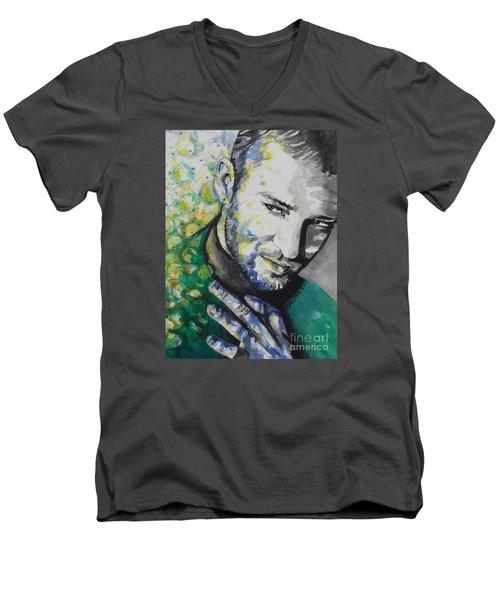 Justin Timberlake...01 Men's V-Neck T-Shirt by Chrisann Ellis