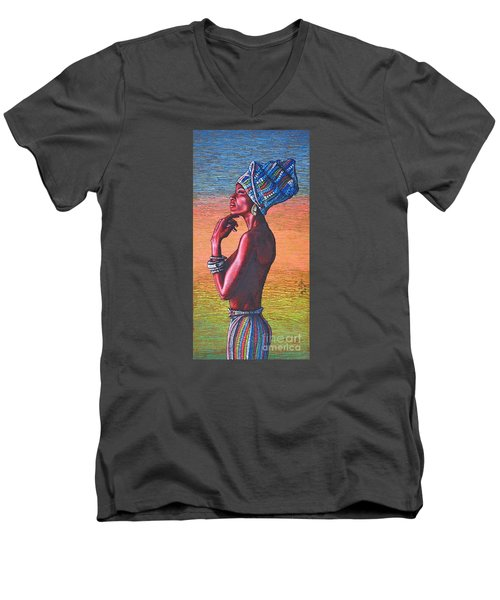 Men's V-Neck T-Shirt featuring the painting Kalimba De Luna by Viktor Lazarev