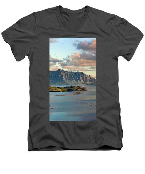 Kaneohe Bay Panorama Mural 2 Of 5 Men's V-Neck T-Shirt