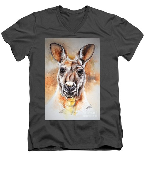 Men's V-Neck T-Shirt featuring the painting Kangaroo Big Red by Sandra Phryce-Jones