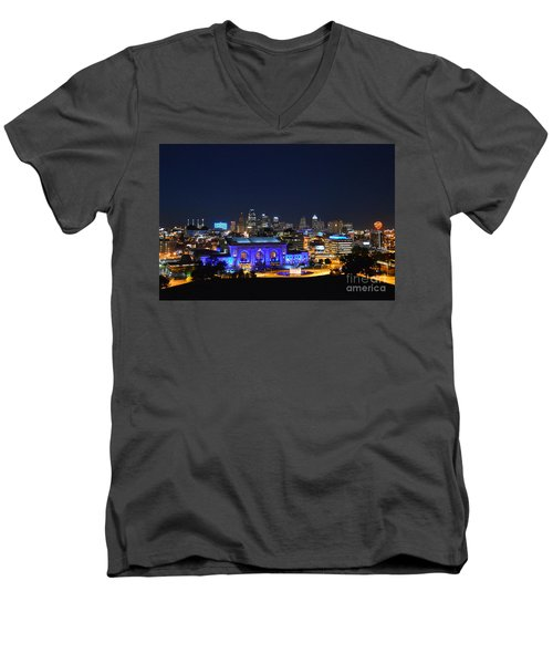 Kansas City Union Station In Blue  Men's V-Neck T-Shirt by Catherine Sherman