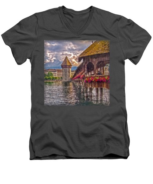 Men's V-Neck T-Shirt featuring the photograph Kapellbruecke by Hanny Heim