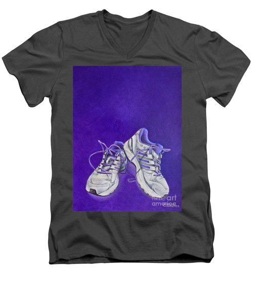 Men's V-Neck T-Shirt featuring the painting Karen's Shoes by Pamela Clements