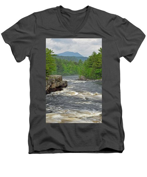 Katahdin And Penobscot River Men's V-Neck T-Shirt