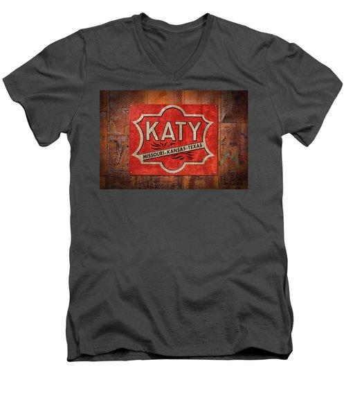 Katy Railroad Sign Dsc02853 Men's V-Neck T-Shirt by Greg Kluempers