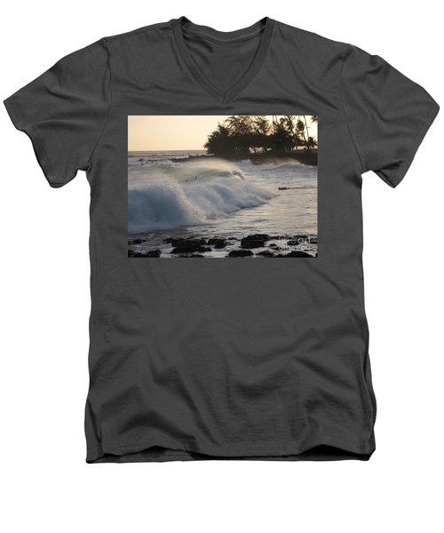 Kauai - Brenecke Beach Surf Men's V-Neck T-Shirt by HEVi FineArt