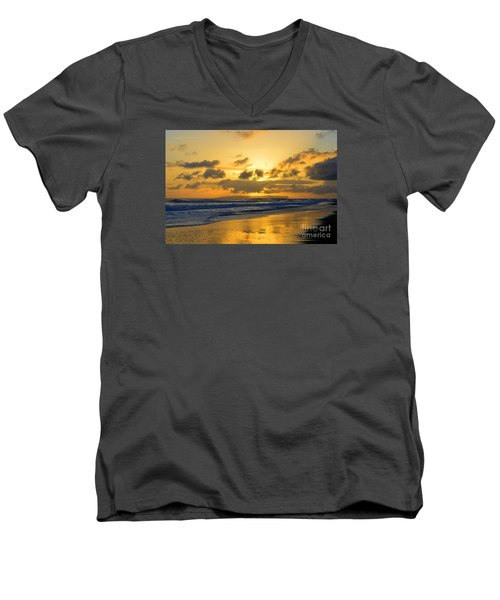 Kauai Sunset With Niihau On The Horizon Men's V-Neck T-Shirt by Catherine Sherman