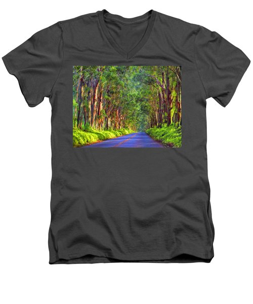 Kauai Tree Tunnel Men's V-Neck T-Shirt by Dominic Piperata
