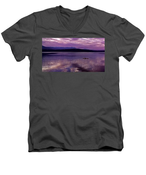 Men's V-Neck T-Shirt featuring the photograph Kayak On Dabob Bay by Greg Reed