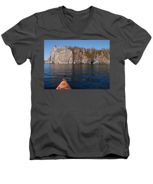 Men's V-Neck T-Shirt featuring the photograph Kayaking Beneath The Light by James Peterson