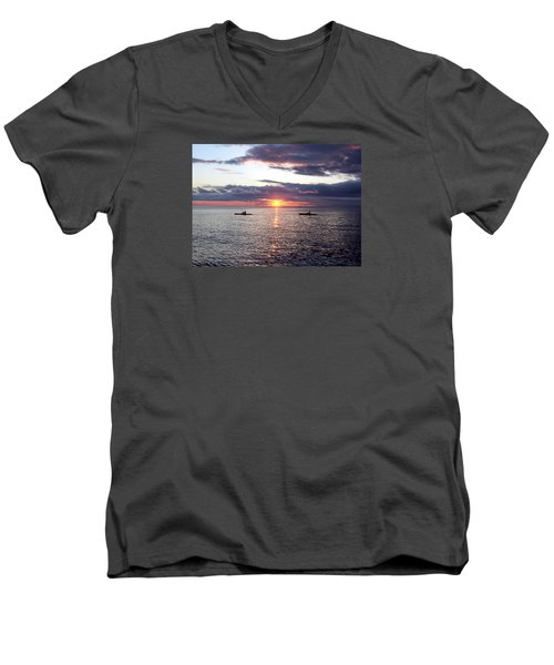 Kayaks At Sunset Men's V-Neck T-Shirt