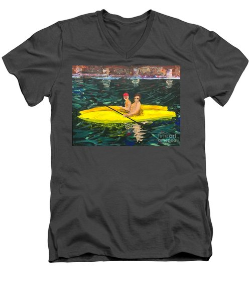 Men's V-Neck T-Shirt featuring the painting Kayaks by Donald J Ryker III