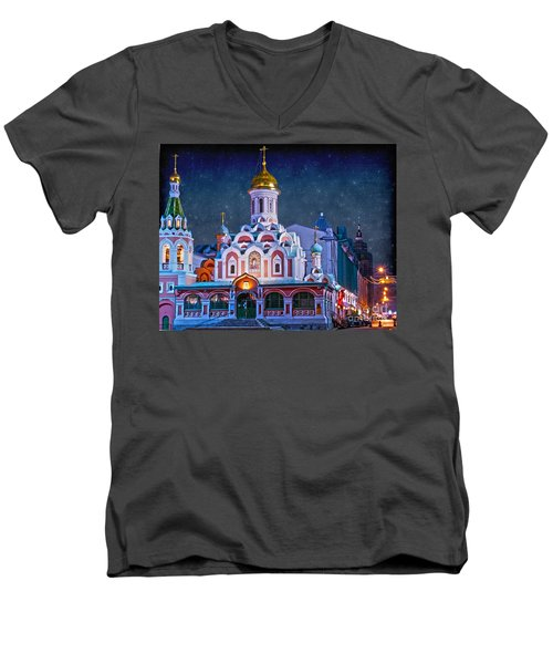 Kazan Cathedral. Red Square. Moscow Russia Men's V-Neck T-Shirt by Juli Scalzi