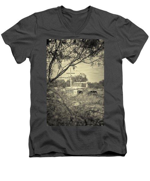 Men's V-Neck T-Shirt featuring the digital art Keeping Watch by Erika Weber