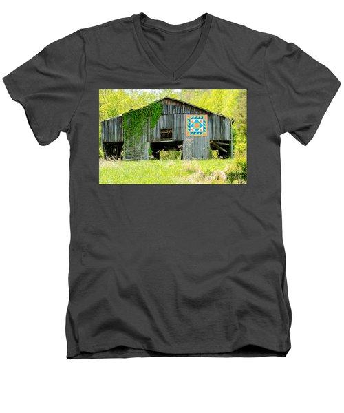 Kentucky Barn Quilt - Thunder And Lightening Men's V-Neck T-Shirt