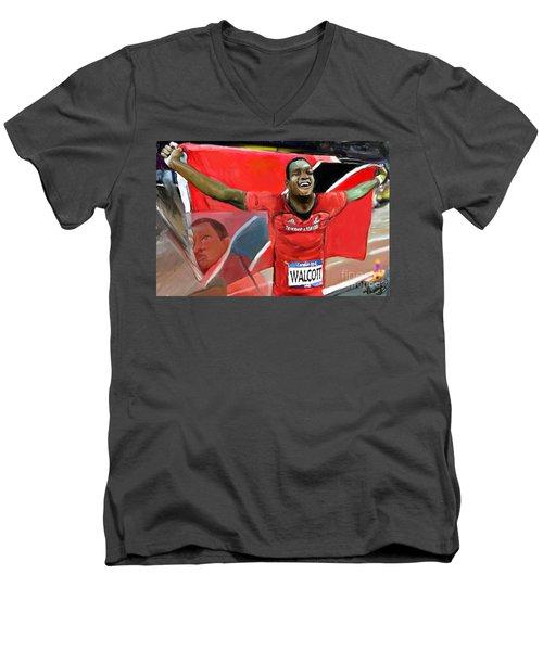 Keshorn Walcott Men's V-Neck T-Shirt by Vannetta Ferguson