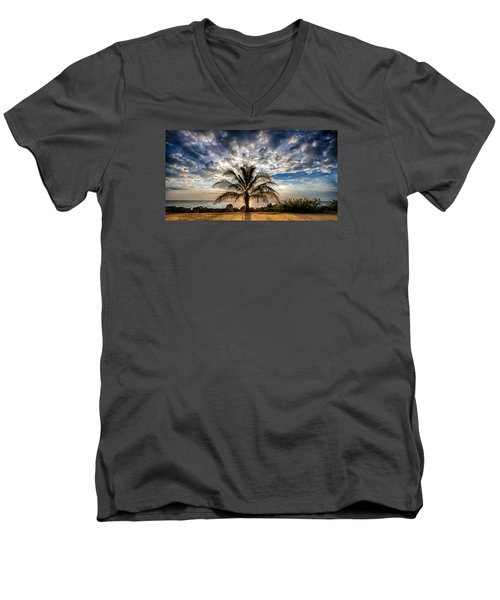 Key West Florida Lone Palm Tree  Men's V-Neck T-Shirt