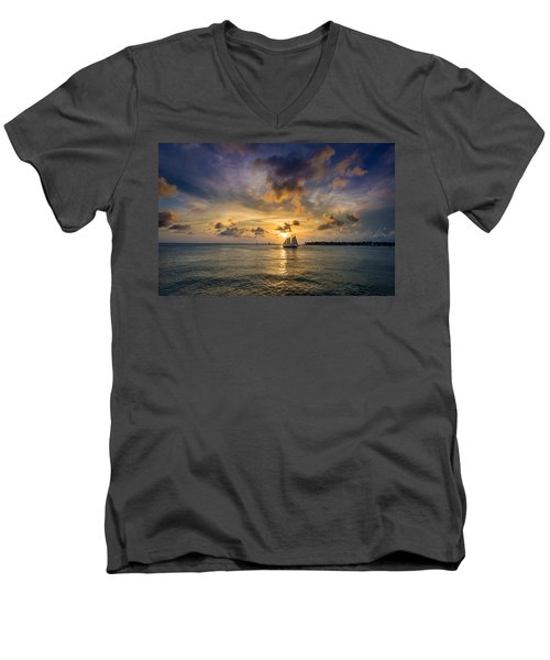 Key West Florida Sunset Mallory Square Men's V-Neck T-Shirt